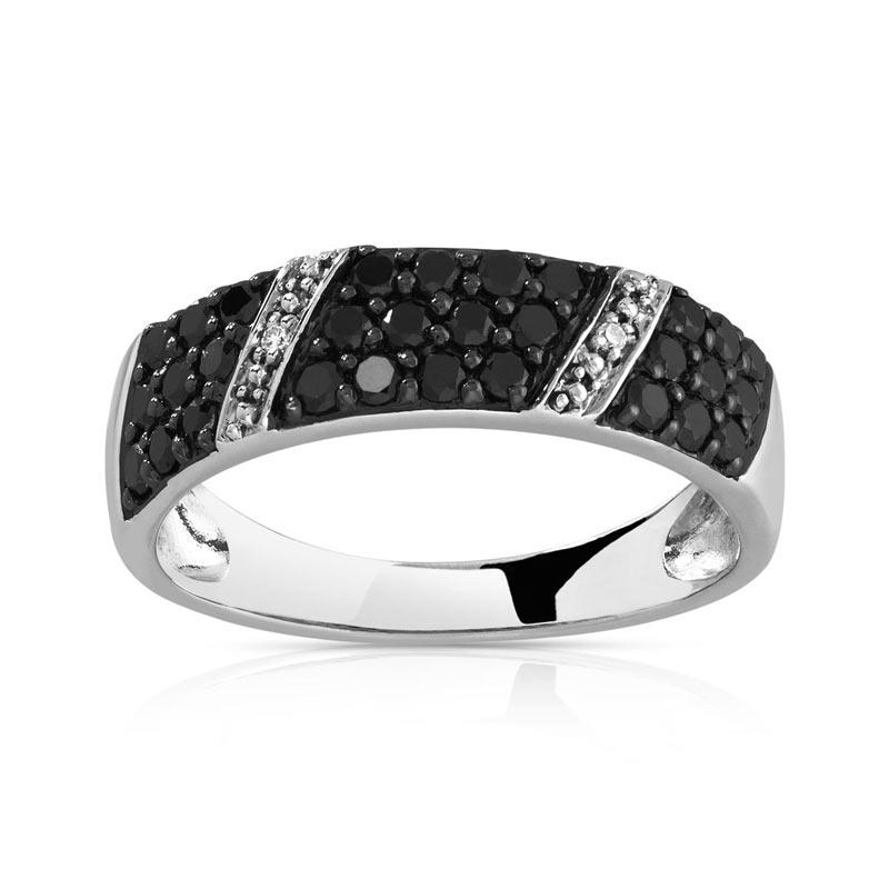 bague or 750 blanc diamant noir et blanc bague en or blanc 750 30 ...