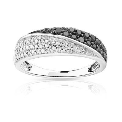 34bc860bf6b Bague or 750 blanc diamant noir et blanc - Femme - Bague