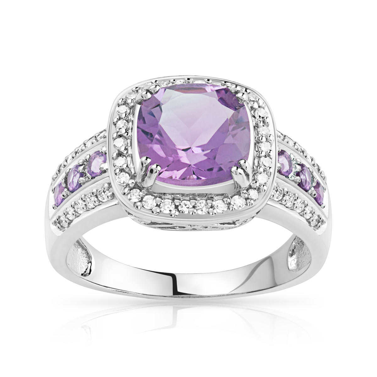 Bague or blanc améthystes diamants - vue V1