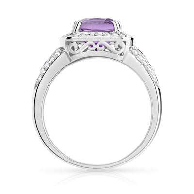 Bague or blanc améthystes diamants - vue V2