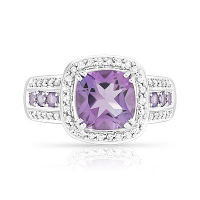 Bague or blanc améthystes diamants - vue V3