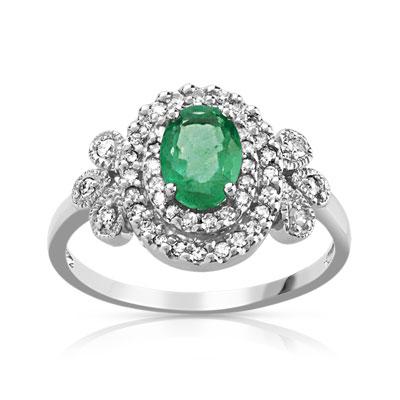 Préférence Bague or 750 blanc émeraude et diamant - Femme - Bague | MATY NV63