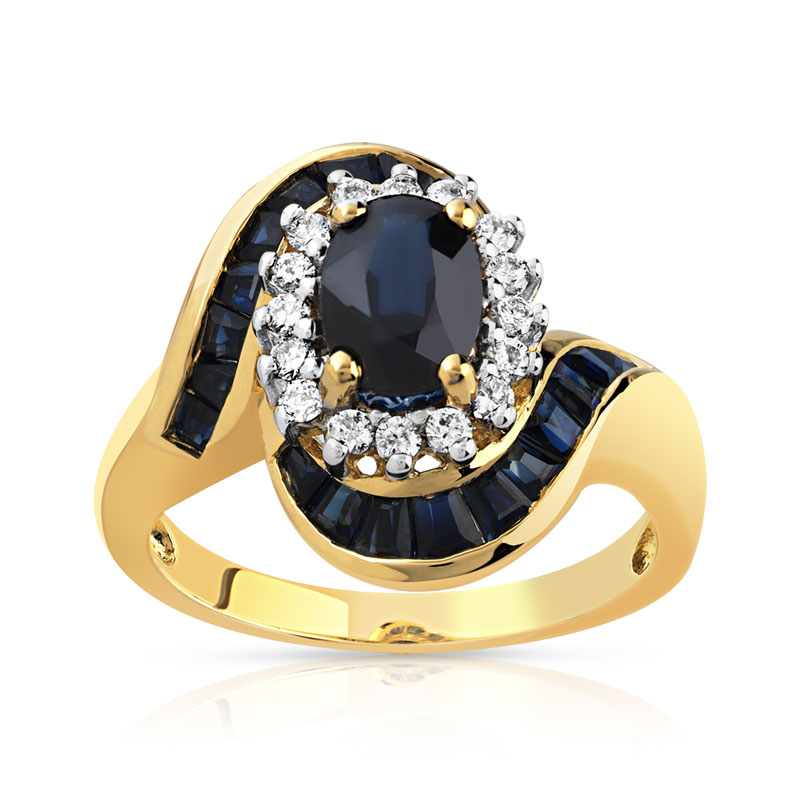 Bague or 750 jaune saphir et diamant , vue V1