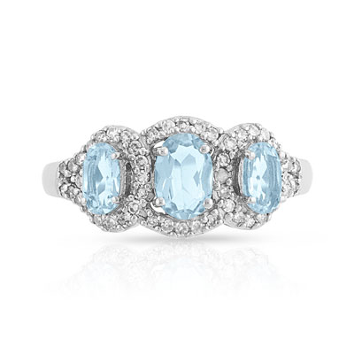 Favori Bague or 750 blanc aigue-marine et diamant - Femme - Bague | MATY GJ55
