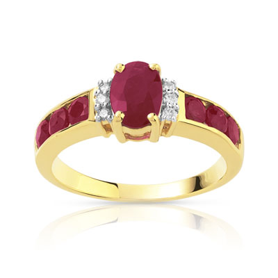 Bague or 750 2 tons rubis diamants - vue 1