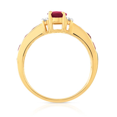 Bague or 750 2 tons rubis diamants - vue 2