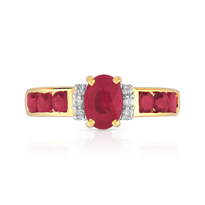 Bague or 750 2 tons rubis diamants - vue 3