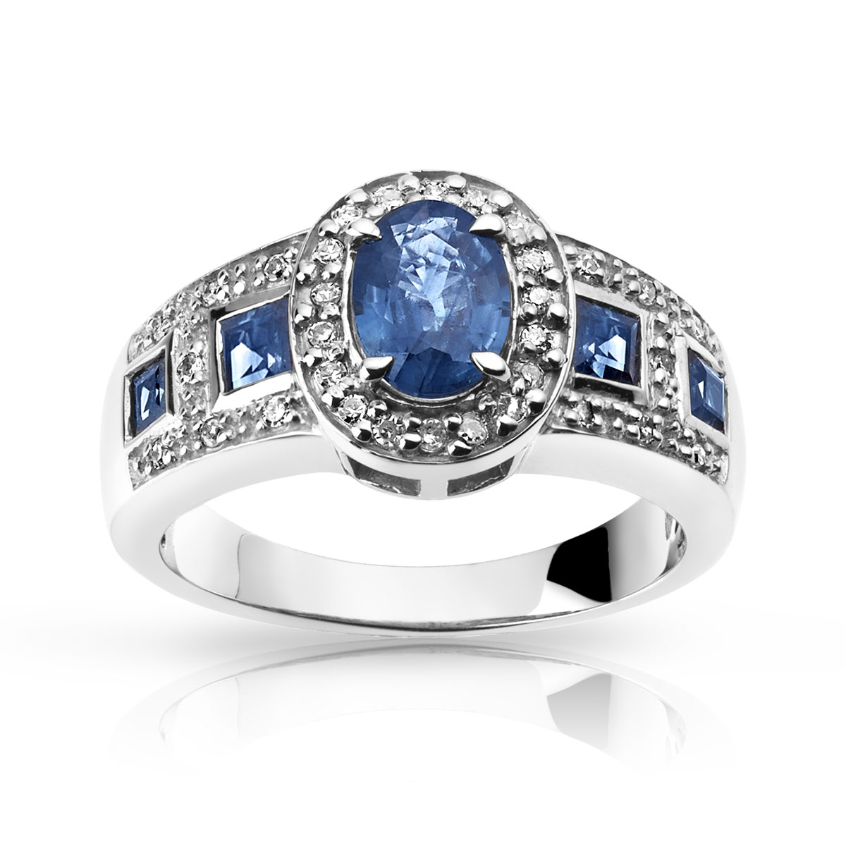 bague or blanc saphir bleu diamant