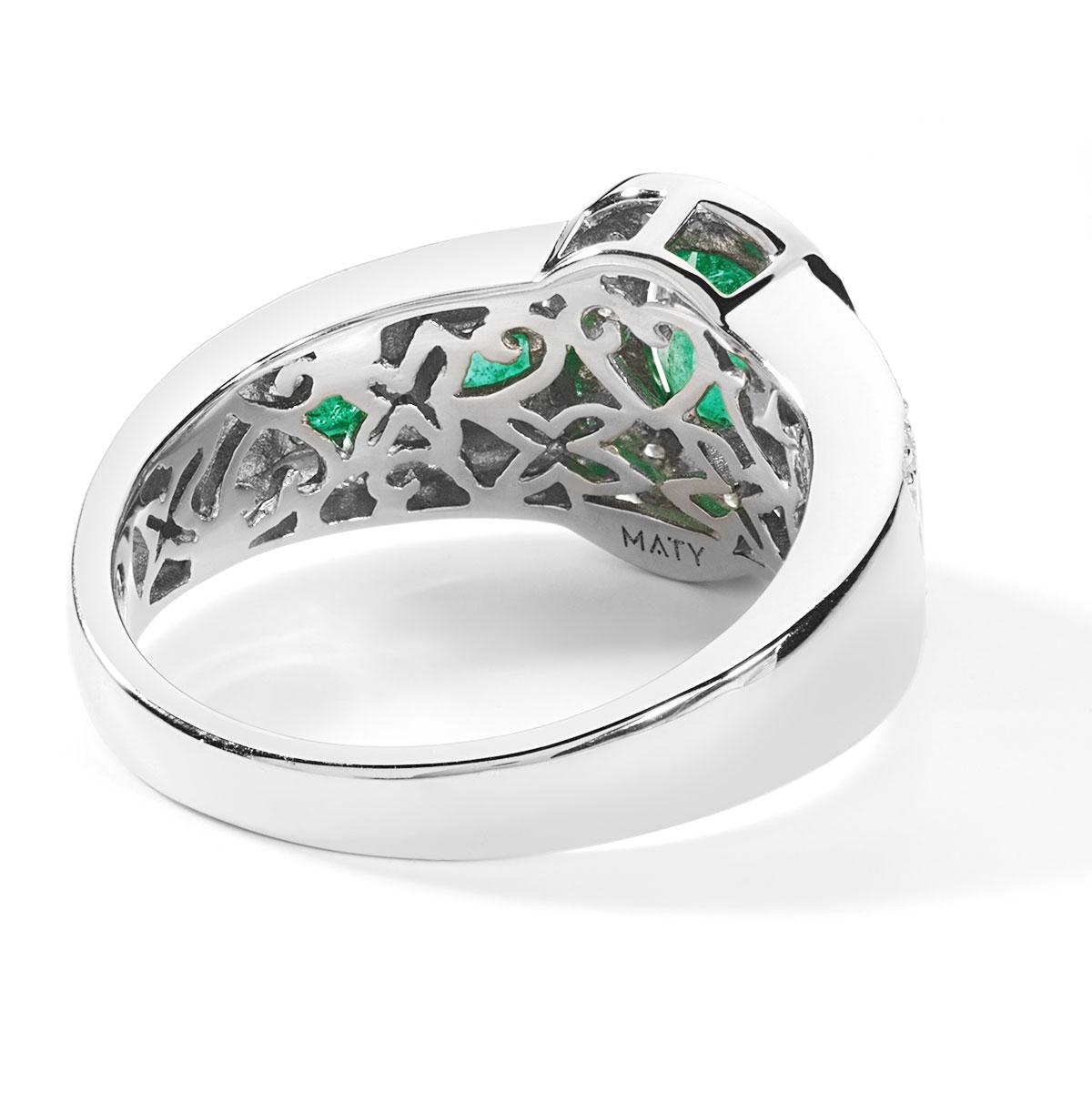 Souvent Bague or 750 blanc émeraude et diamant - Femme - Bague | MATY QG09