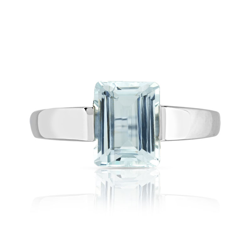 Bague or 750 blanc aigue-marine - vue V3