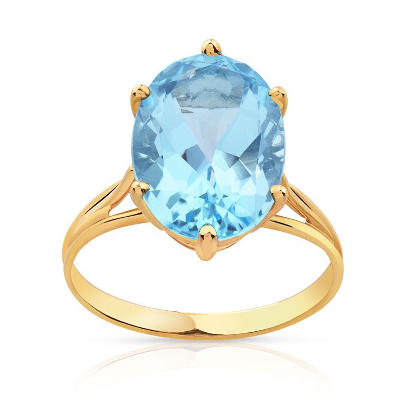 ef6bdc30de0 Bague or 750 jaune topaze bleue traitée - Femme - Bague