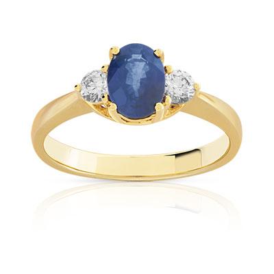 bague diamant et saphir or jaune