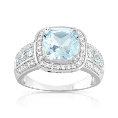 a66b3d24dc4 Bague or 750 blanc topaze bleue traitée et diamant - Femme - Bague ...
