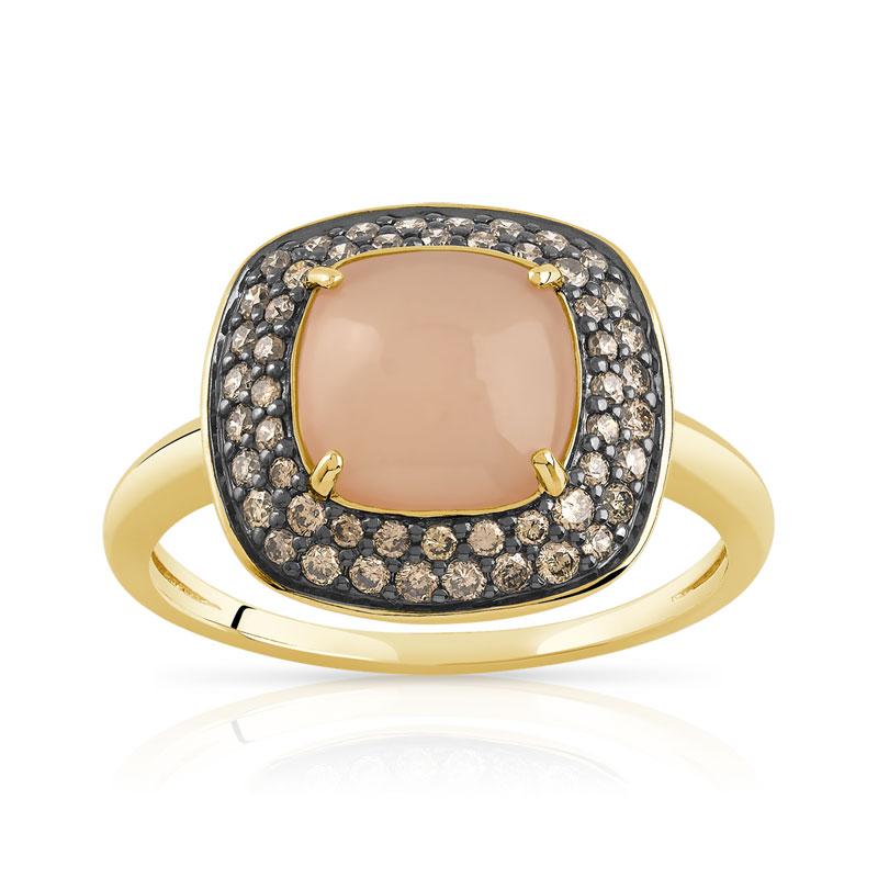 bague or 750 jaune pierre lune et diamant ambr femme. Black Bedroom Furniture Sets. Home Design Ideas