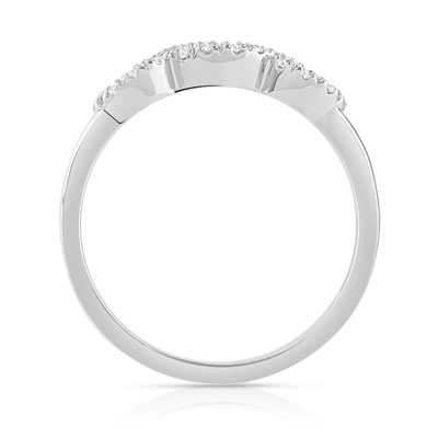 Bague or blanc saphirs diamants - vue 2