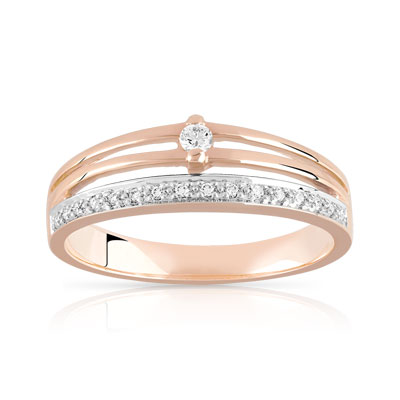 Bague or 750 rose diamant - vue 1
