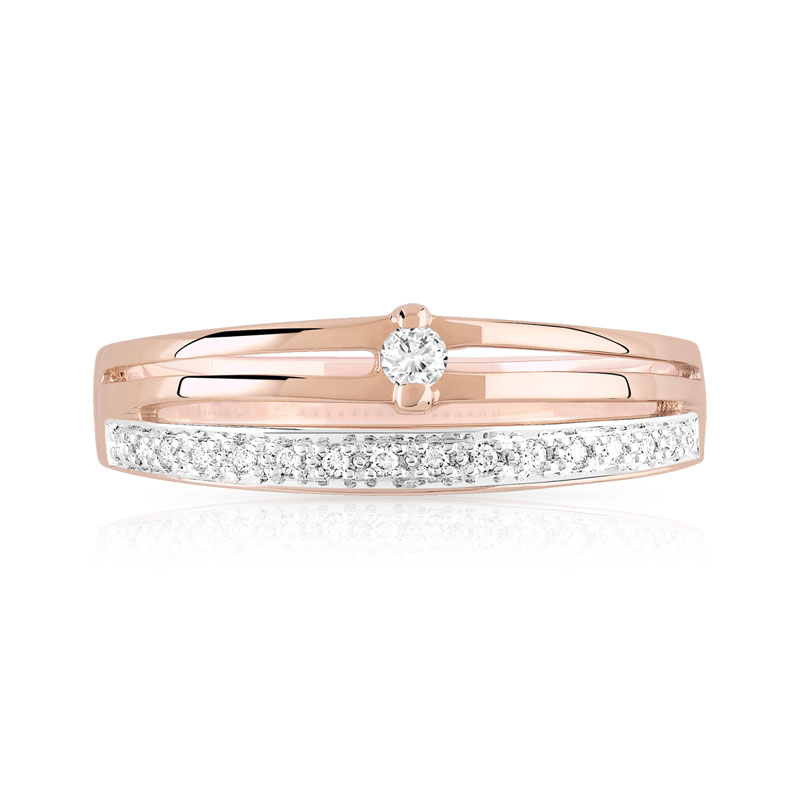 Bague or 750 rose diamant - vue V3