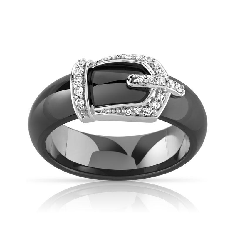 Bague or 375 blanc c ramique noire et diamant femme bague maty - Bague en ceramique ...