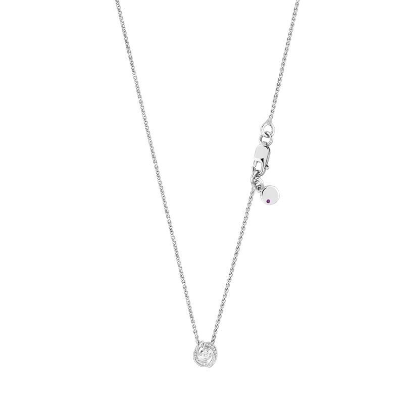 Collier or 375 blanc diamant et rubis - vue V1