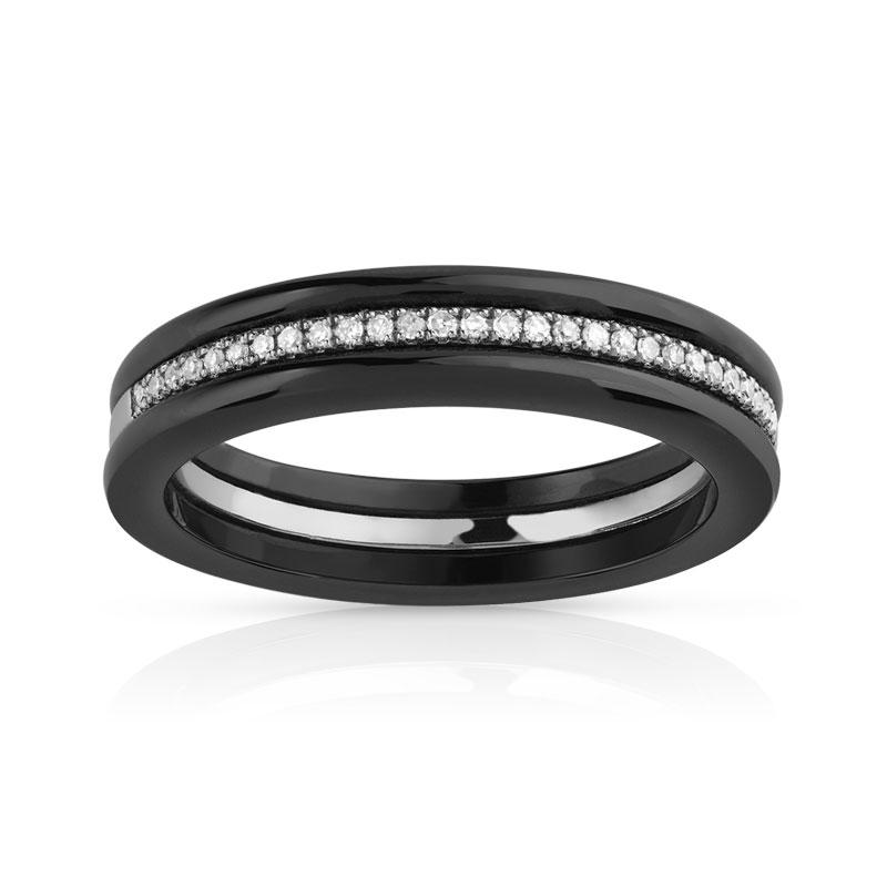 bague or 375 blanc c ramique noire et diamant femme bague maty. Black Bedroom Furniture Sets. Home Design Ideas