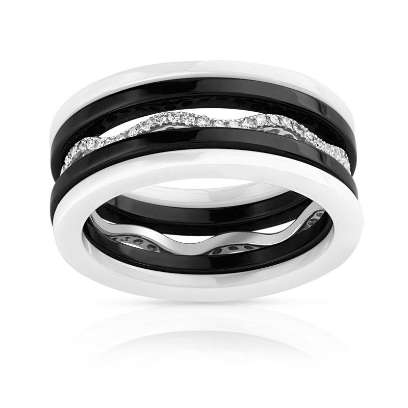 lot de 5 bagues or 375 blanc c ramique noire blanche diamant femme bague maty. Black Bedroom Furniture Sets. Home Design Ideas
