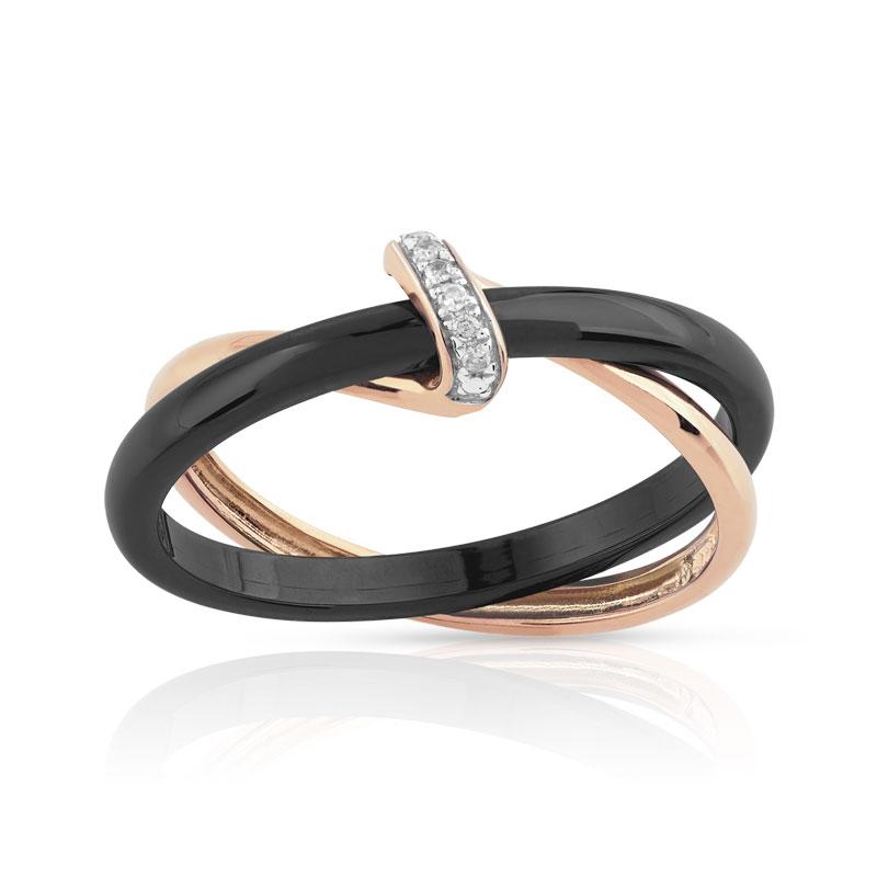 bague or 375 rose c ramique noire diamant femme bague maty. Black Bedroom Furniture Sets. Home Design Ideas