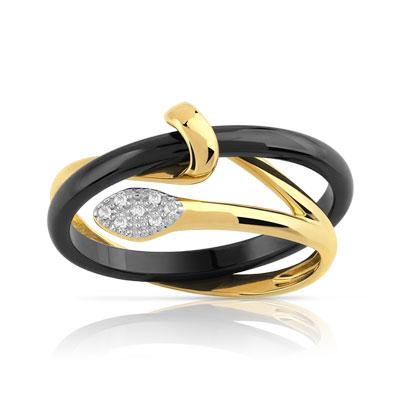 bague or 375 jaune c ramique noire diamant femme bague. Black Bedroom Furniture Sets. Home Design Ideas