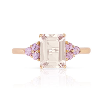 Bague or 375 rose morganite et saphir rose - vue 3