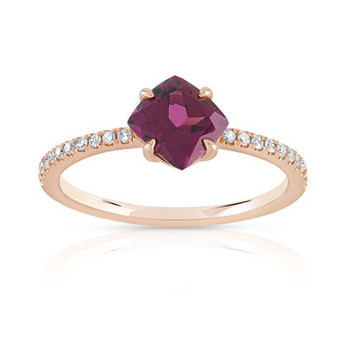 Bague or 375 rose grenat rhodolite carrée et diamants