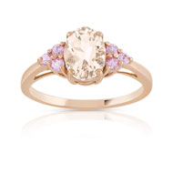 Bague or 375 rose morganite et saphir rose