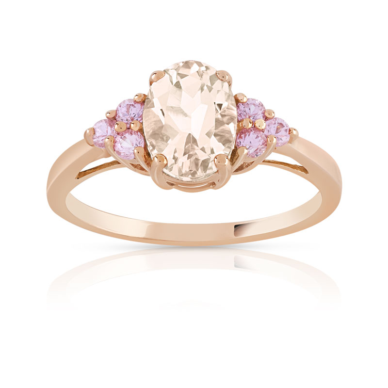 Bague or 375 rose morganite et saphir rose - vue V1