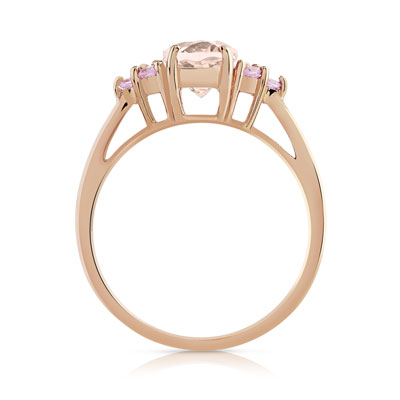 Bague or 375 rose morganite et saphir rose - vue 2