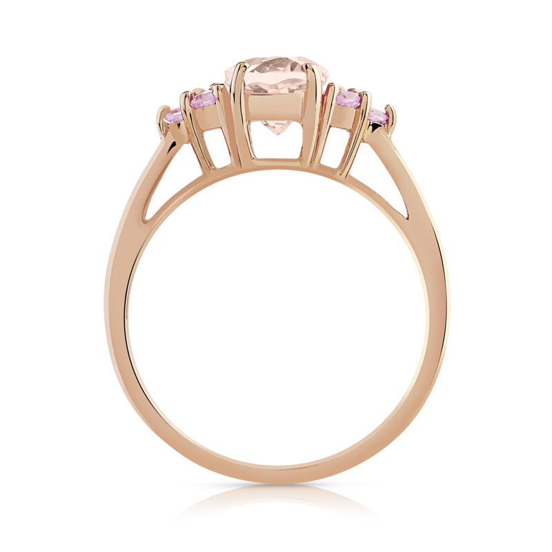 Bague or 375 rose morganite et saphir rose - vue V2