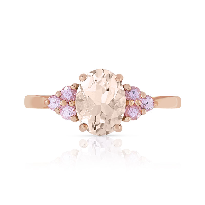 Bague or 375 rose morganite et saphir rose - vue V3