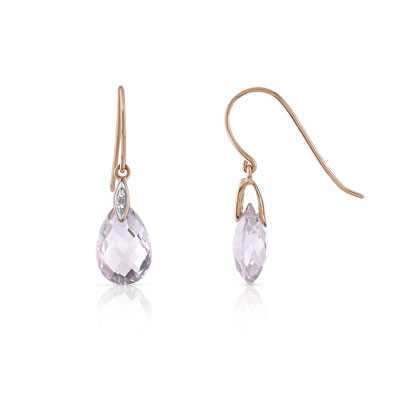 style de la mode de 2019 styles de mode design intemporel Boucles d'oreilles or 375 rose améthyste et diamant