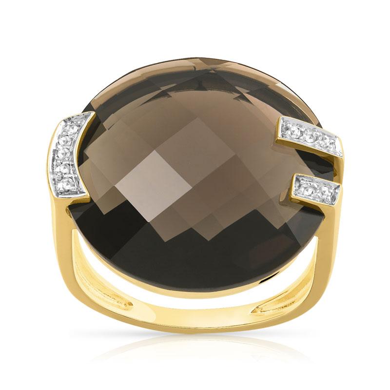 bague or 375 2 tons quartz fum et diamant femme bague. Black Bedroom Furniture Sets. Home Design Ideas