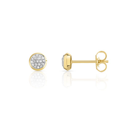 Boucles d'oreilles or 375 2 tons diamants - vue 1