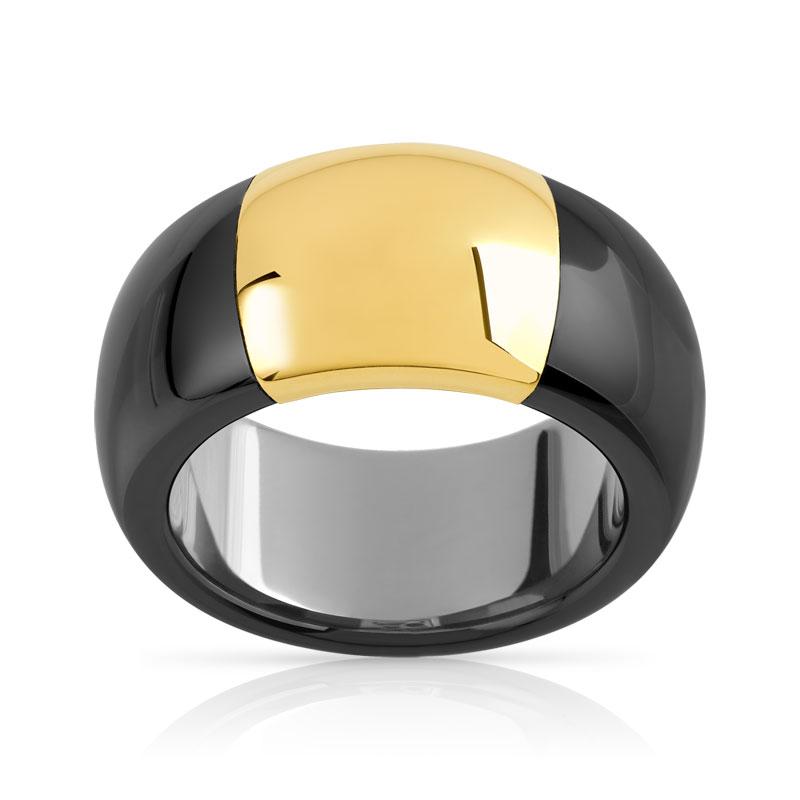 bague or 375 jaune c ramique noire femme bague maty. Black Bedroom Furniture Sets. Home Design Ideas
