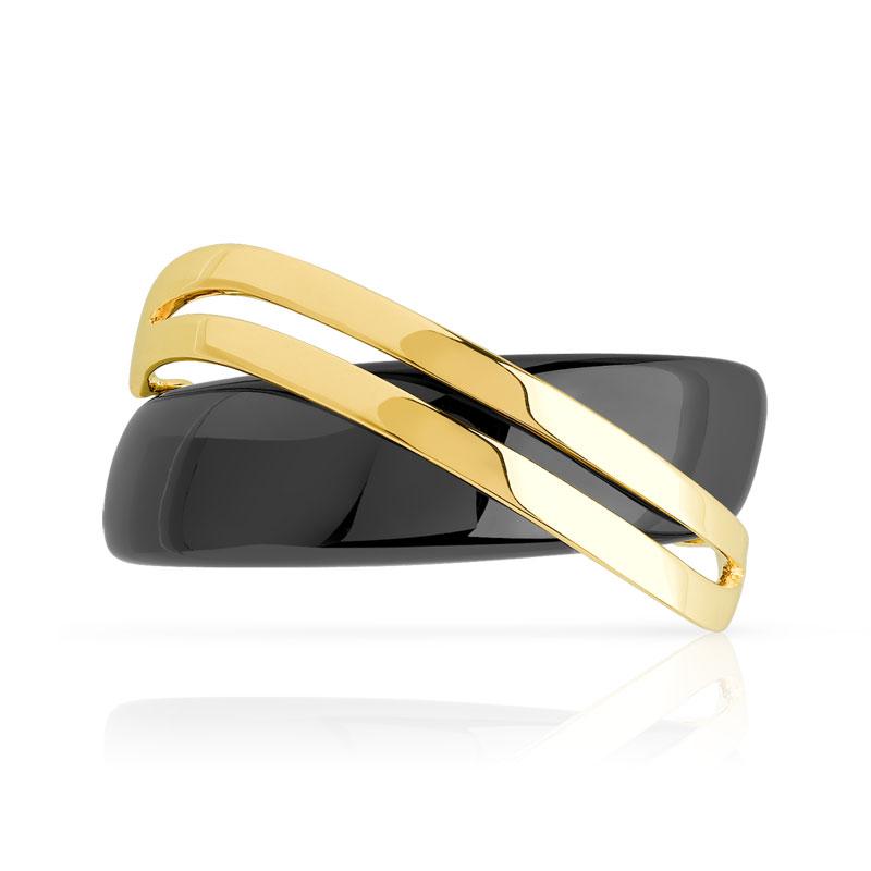 bague or 375 jaune c ramique noire femme bague bijoux sur internet maty. Black Bedroom Furniture Sets. Home Design Ideas