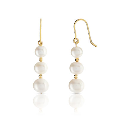 Boucles d'oreilles or 375 jaune perles de culture de Chine - vue 1