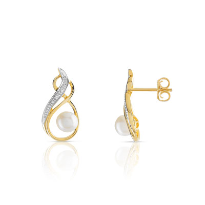 Boucles d'oreilles or 2t 375 perle culture chine diamant - vue 1