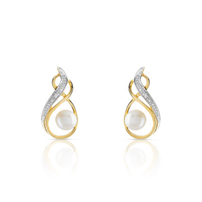 Boucles d'oreilles or 2t 375 perle culture chine diamant - vue D1