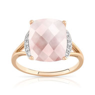 Bague or 375 rose quartz rose et diamant
