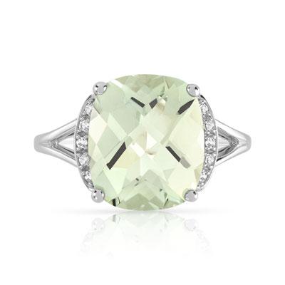 Bague or 375 blanc quartz vert et diamant , vue 3