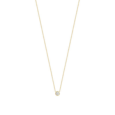 Collier or 375 jaune zirconia - vue V1