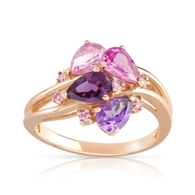Bague or 375 rose pierres fines - vue 1