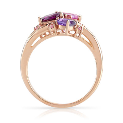Bague or 375 rose pierres fines - vue 2