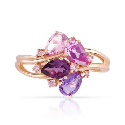 Bague or 375 rose pierres fines - vue 3
