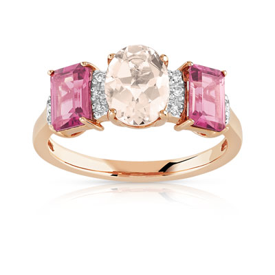 Bague or 375 rose pierres fines et diamant - vue 1