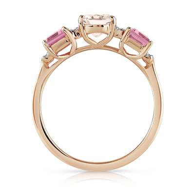 Bague or 375 rose pierres fines et diamant - vue 2